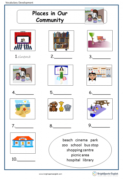 Places In Our Community English Vocabulary Worksheet – English
