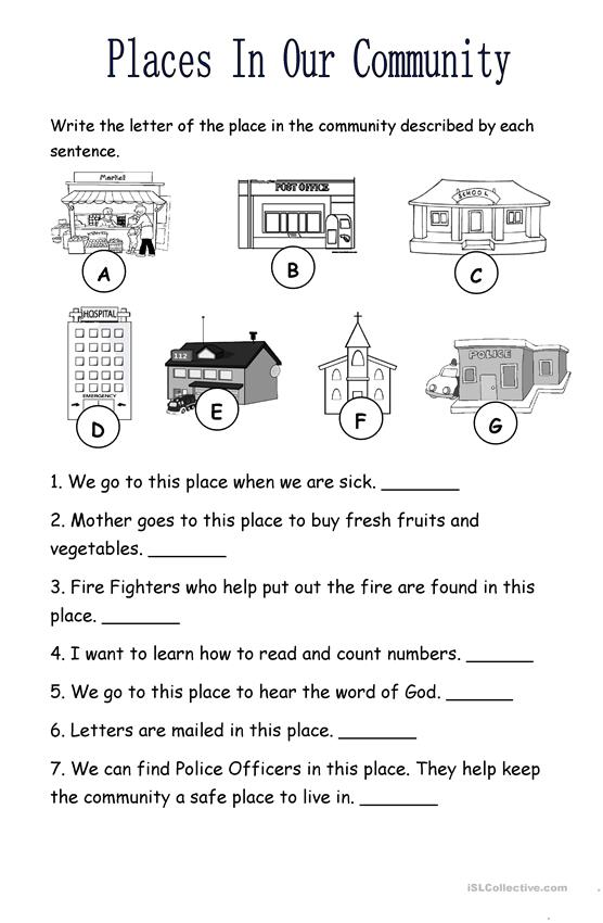 Places In The Community Worksheet