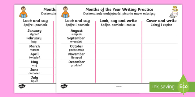 Months Of The Year Writing Practice Worksheet   Worksheets English