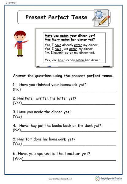 Present Perfect Tense English Grammar Worksheet – English Treasure