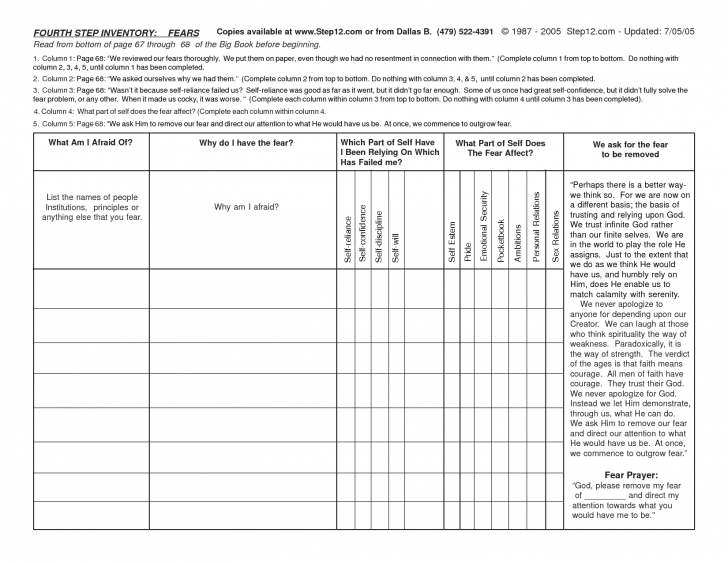 Celebrate Recovery Inventory Worksheet