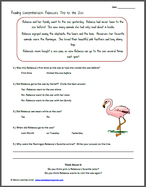 Printables  Free Kindergarten Reading Comprehension Worksheets