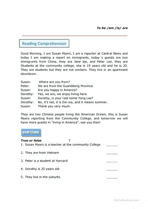 Reading Comprehension Verb To Be Worksheet Free Printable Reading