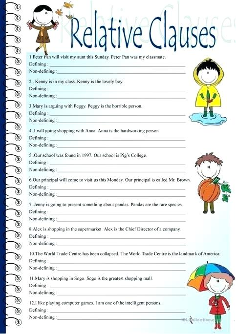 Grammar Clauses Worksheets Choice Image Worksheet For Kids Maths