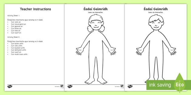 Draw The Winter Clothes Worksheet Gaeilge
