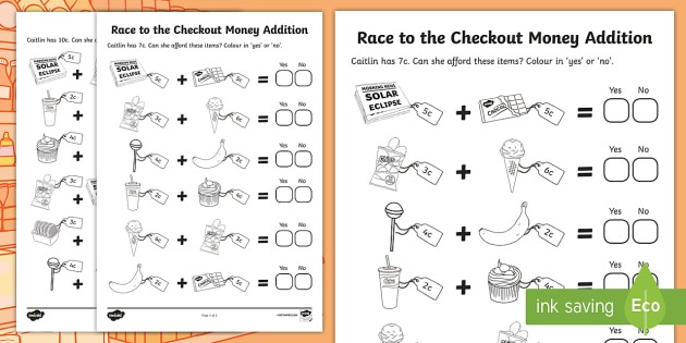 Race To The Checkout Money Addition Worksheet   Worksheet