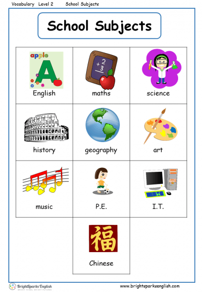 School Subjects English Vocabulary Worksheet – English Treasure Trove