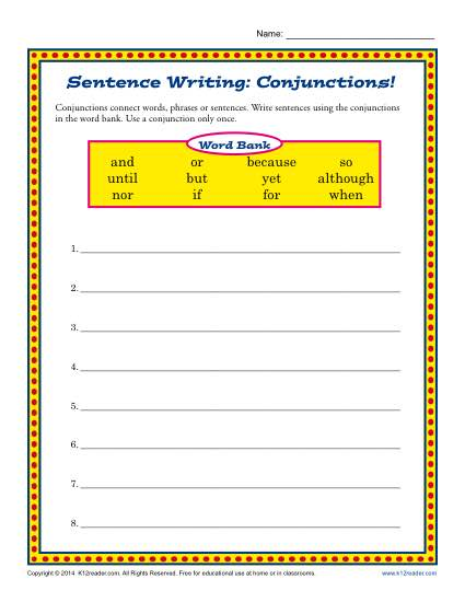 Sentence Writing  Comjunctions!