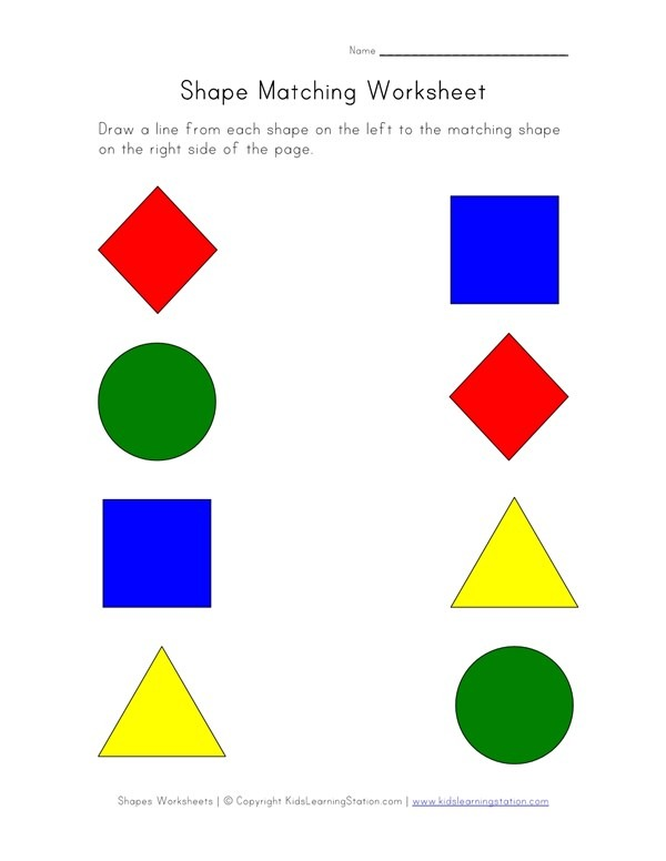 Shape Matching Worksheet 1