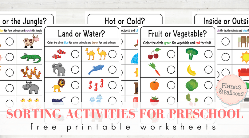 Sorting Worksheets For Preschool To Teach Concepts Beyond Color Or