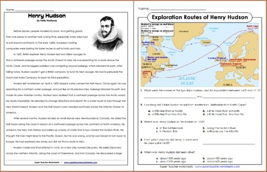 Henry Hudson Reading Comprehension