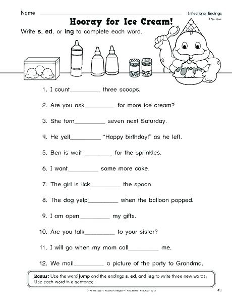 Suffix Worksheet 2 Inflected Endings Worksheets First Grade Suffix