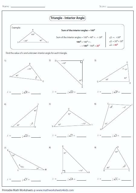 Sum Of Angles In A Triangle Worksheet – Osklivkakatkapromena Info