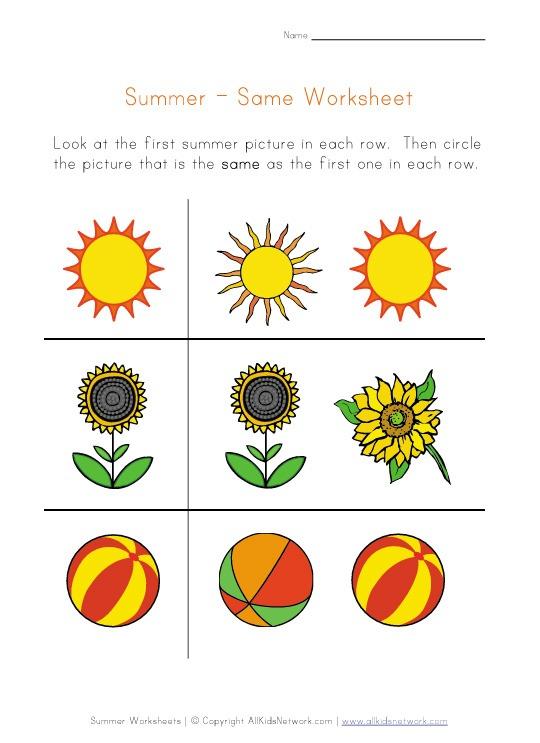 Preschool Worksheet Printables  Same Worksheets