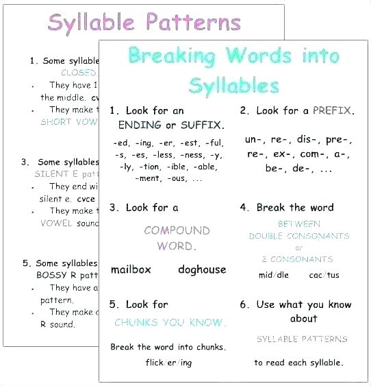 Count The Syllables Worksheet Year 4 Syllabication Worksheets