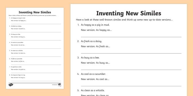 Ks2 Inventing New Similes Worksheet   Worksheet