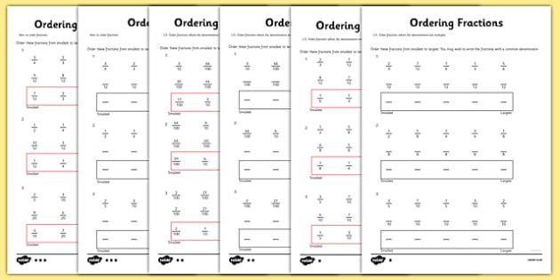Year 5 Ordering Fractions Worksheet   Worksheet
