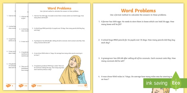 Long Division Word Problems Differentiated Worksheets