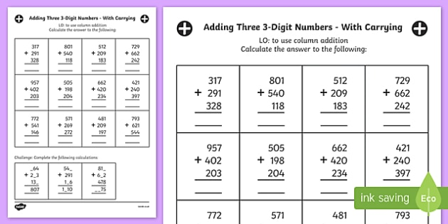 Adding Three 3 Digit Numbers In A Column With Carrying Worksheet