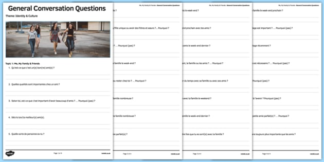 Self, Family And Friends Themed General Conversation Questions