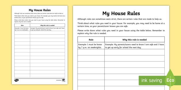 What House Rules Do You Need  Worksheet   Worksheet