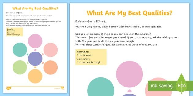 What Are My Best Qualities  Worksheet   Worksheet