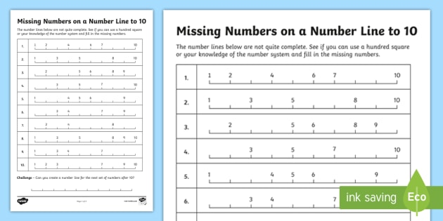 Filling In The Missing Numbers On A Number Line To 10 Worksheet