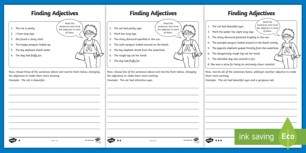 Finding Adjectives Worksheet   Worksheet