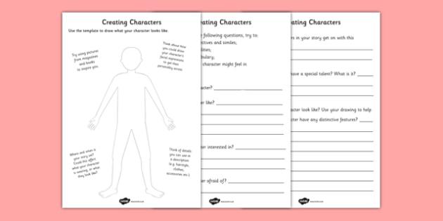 Creating A Character Worksheets