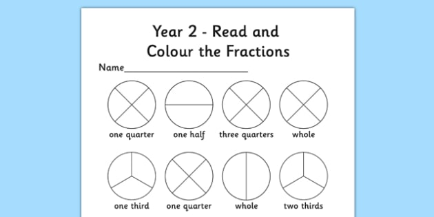 Year 2 Read And Color A Fraction Worksheet   Worksheet
