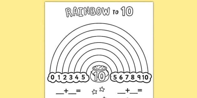 Rainbow To 10 Worksheet   Worksheet