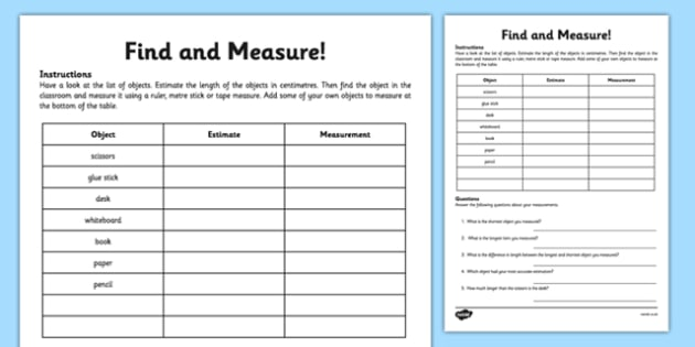 Find And Measure Classroom Objects Worksheet   Worksheet