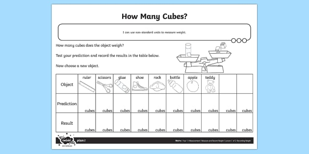 How Many Cubes Weight Worksheet   Worksheet
