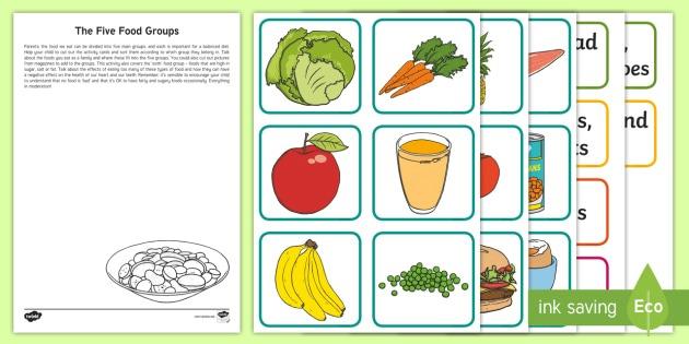 Ks1 The Five Food Groups Worksheet