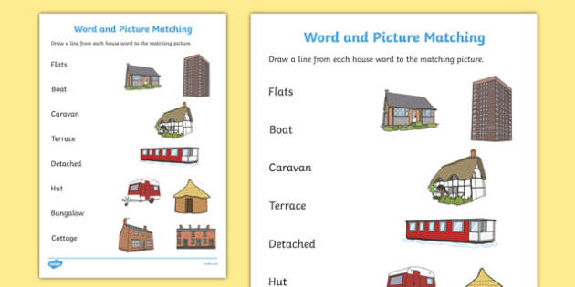 Houses And Homes Matching Worksheet