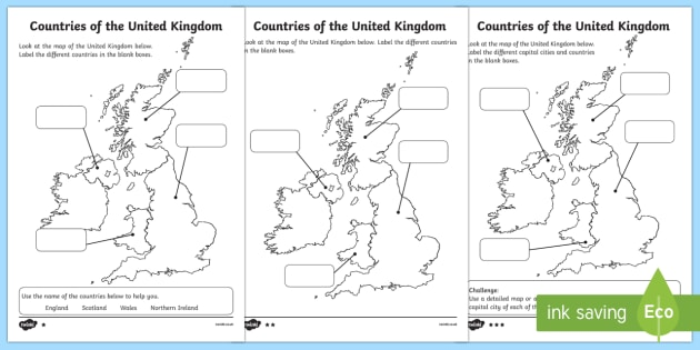 Differentiated Countries Of The United Kingdom Labelling Worksheet