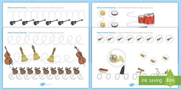 Musical Instruments Pencil Control Worksheets