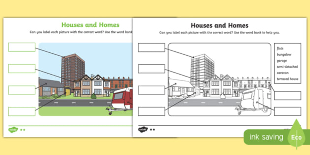 Houses And Homes Labelling Differentiated Worksheet   Worksheet Pack