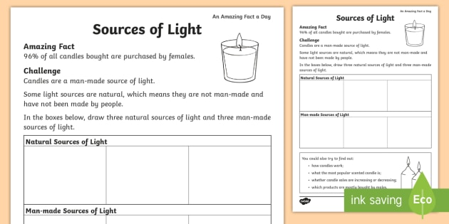 Sources Of Light Worksheet   Worksheet