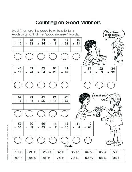 Teaching Manners Worksheets Table To Kids