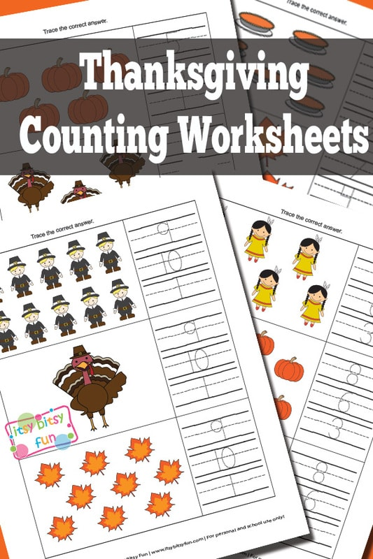 Thanksgiving Counting Worksheets