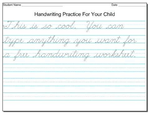 Third Grade Handwriting Worksheets