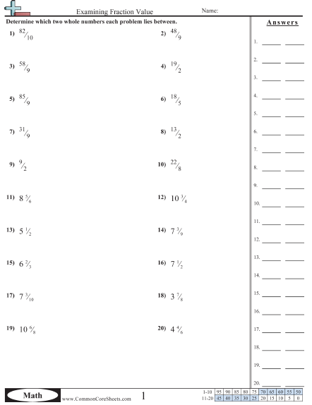 Fraction Worksheets