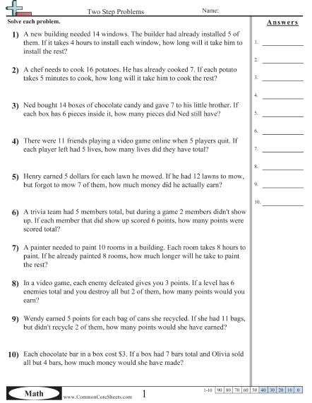 Multistep Worksheets