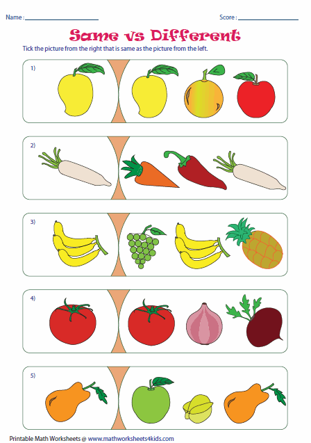Same And Different Worksheets For Preschool