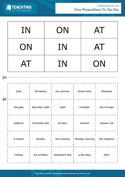 Time Prepositions Esl Games Activities Worksheets