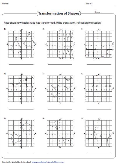 Transformation Worksheets Transformation Worksheets Reflection