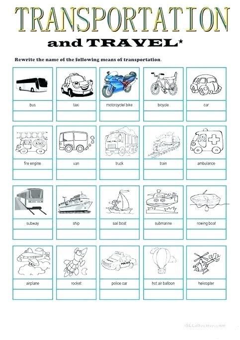 Free Means Of Transport Worksheets Land Transportation For