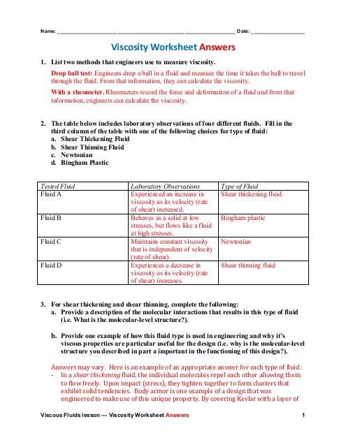 Viscosity Worksheet Answers (pdf)