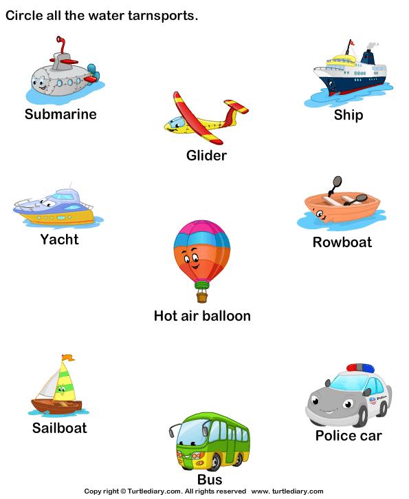 Water Means Of Transport Worksheet